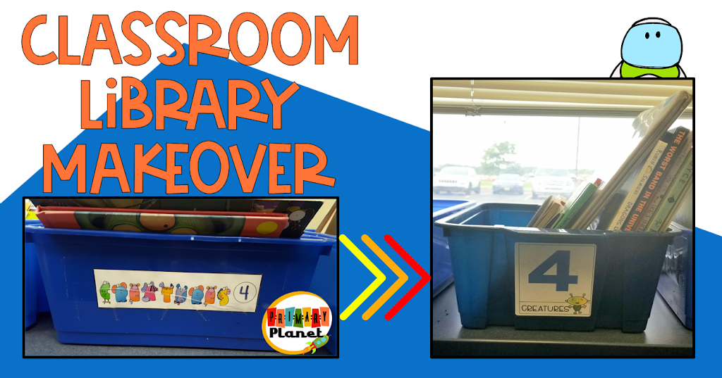 Cover image of Classroom Library Makeover with pics of old and new book box labels.
