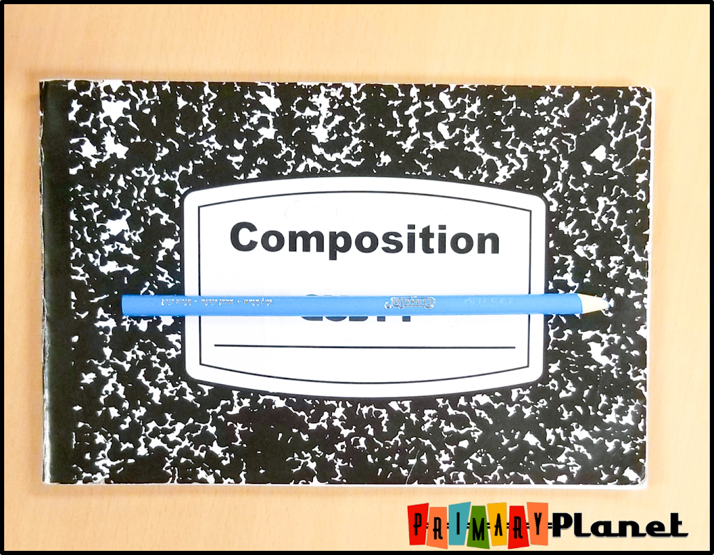 Image of half composition notebook.