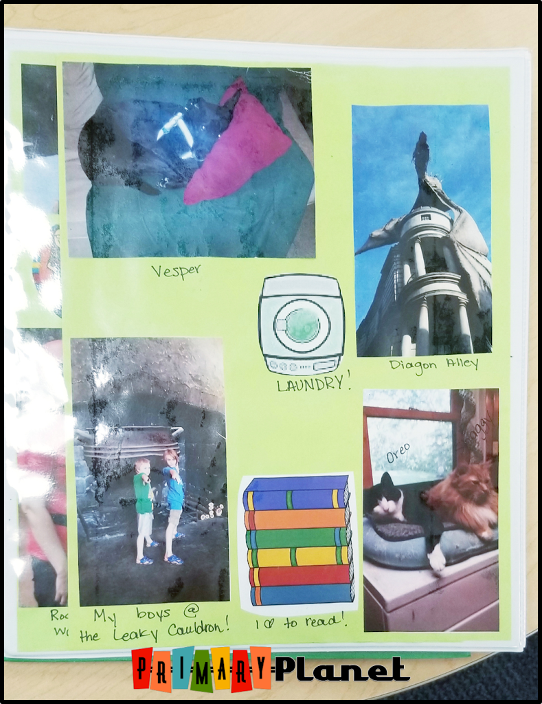 Image of Writing Binder with pictures of writing ideas.