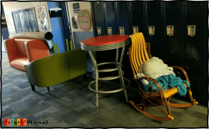 Image of classroom furniture in the hallway.
