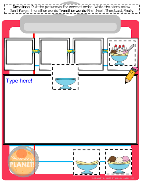Digital Sequence and Write activity!  The students move the pieces into the correct sequence, then use the transition words to write!