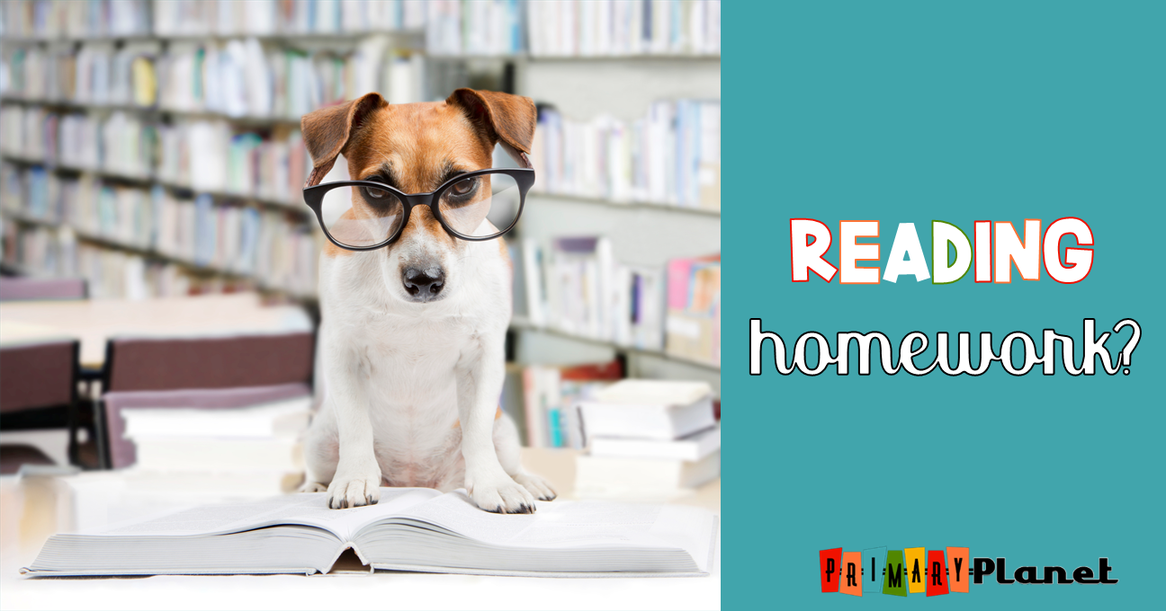 Dog standing on book image with text: Reading Homework?