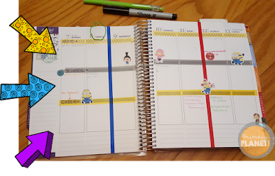 Inside planner, decorated planner pages, keeping it all together.