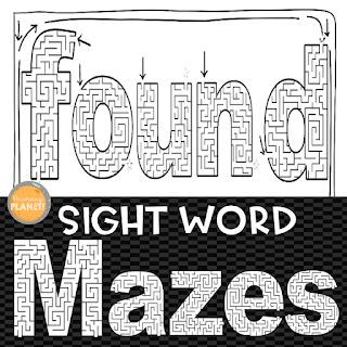 Practicing sight words using sight word mazes!  These are a fun way for your kiddos to practice their sight words!