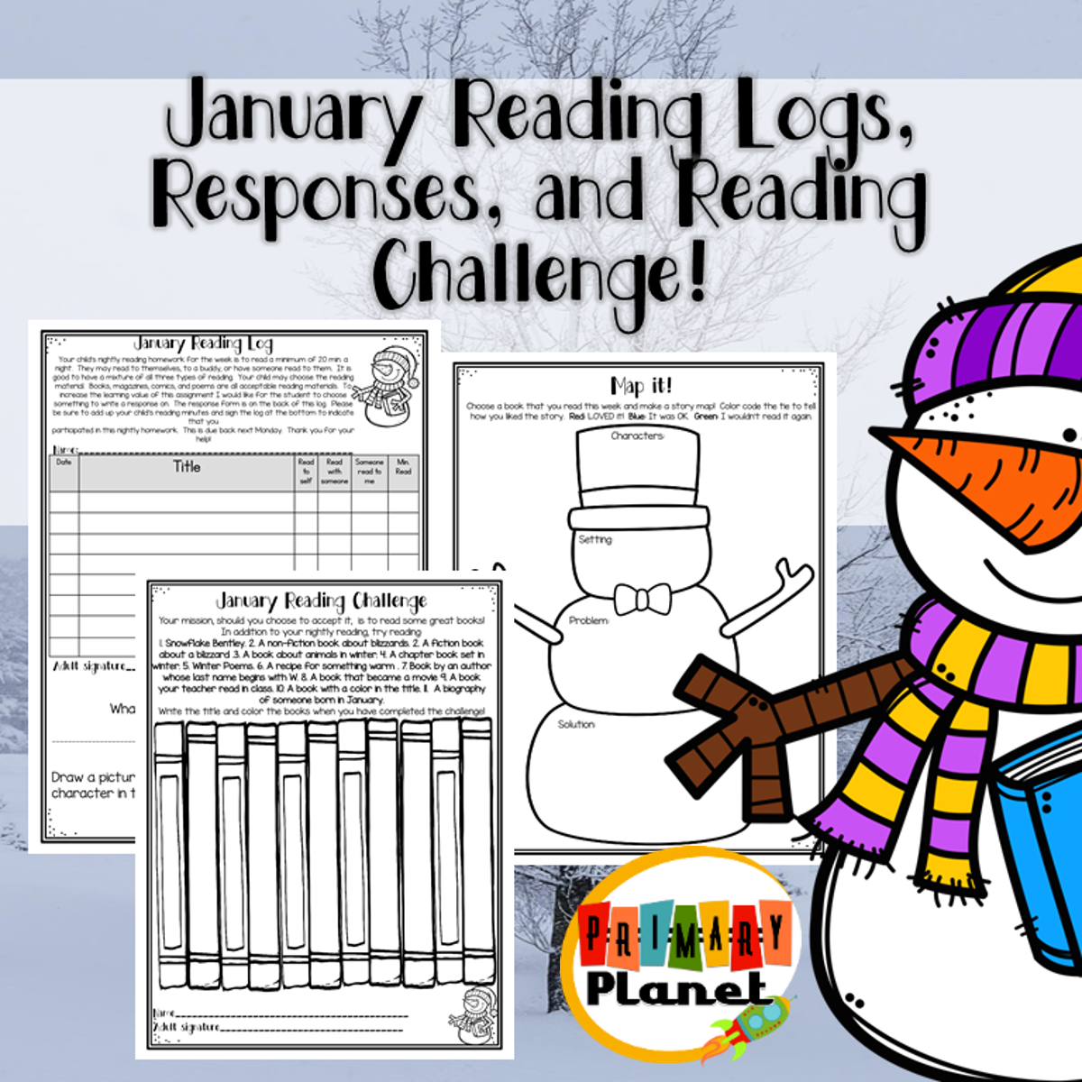 Image with Text of January Reading Logs, Responses, and Challenges.