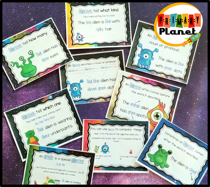 Adjectives aliens posters link to find other fun adjective activities!