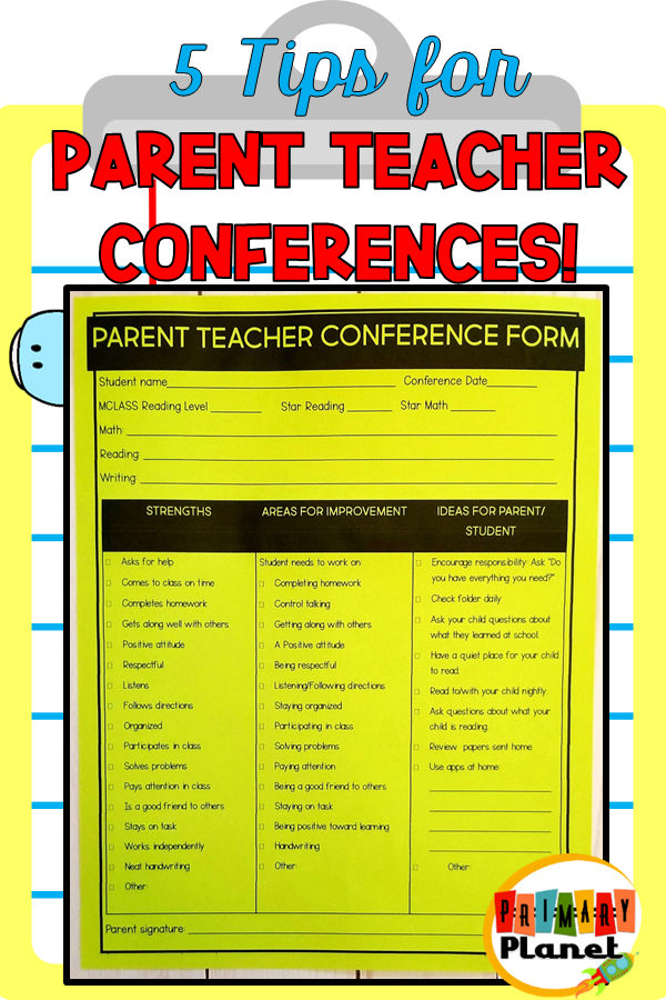 5 Tips for Successful Parent Teachers Conferences! with freebies!